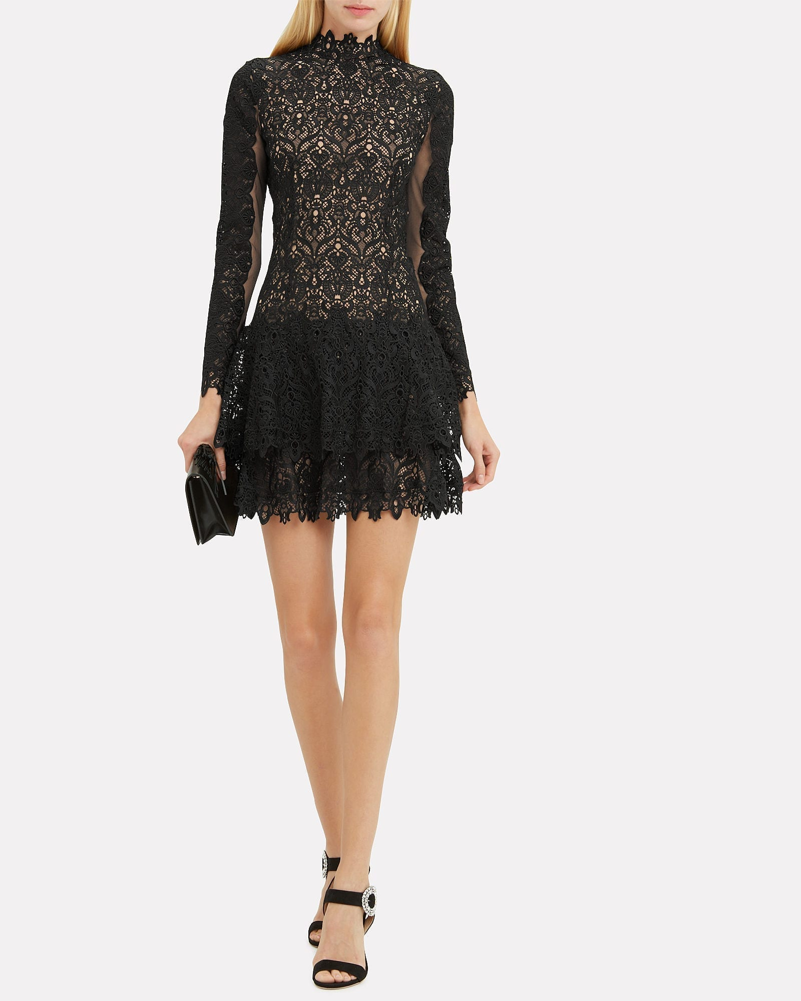 JONATHAN SIMKHAI Guipure Lace Mock Neck Black Dress