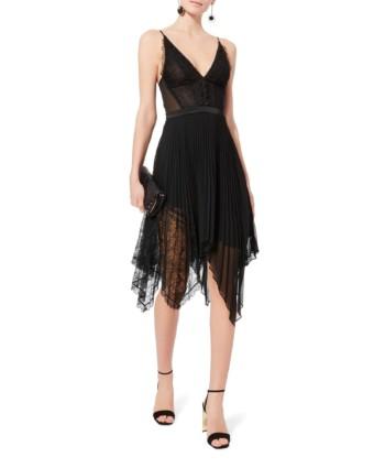 JONATHAN SIMKHAI Lace Pleated Black Dress