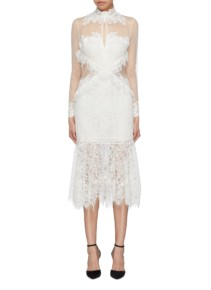 JONATHAN SIMKHAI Mesh Panel High Neck Chantilly Lace White Dress