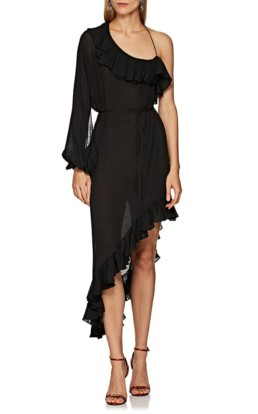 JUAN CARLOS OBANDO Cotton-Blend Organdy One-Shoulder Wrap Black Dress