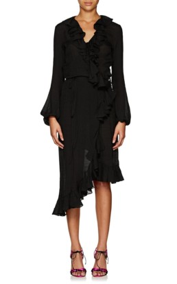 JUAN CARLOS OBANDO Washed Cotton-Blend Wrap-Front Black Dress