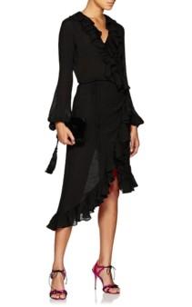 JUAN CARLOS OBANDO Washed Cotton-Blend Wrap-Front Black Dress