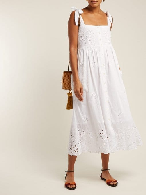 JULIET DUNN Broderie-Anglaise Cotton Midi White Dress