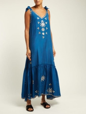 JULIET DUNN Mirror-Work Silk-Satin Maxi Blue Dress