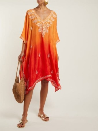 JULIET DUNN Sequin-Embellished Embroidered Silk Orange Poncho