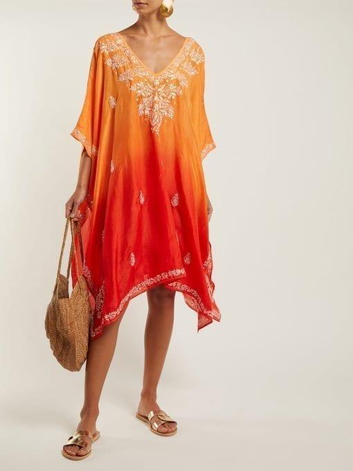 JULIET DUNN Sequin-Embellished Embroidered Silk Orange Poncho