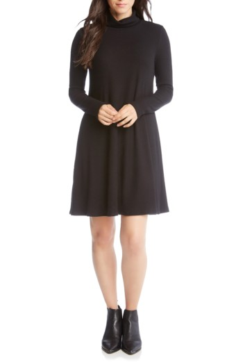 KAREN KANE Turtleneck A-Line Black Dress