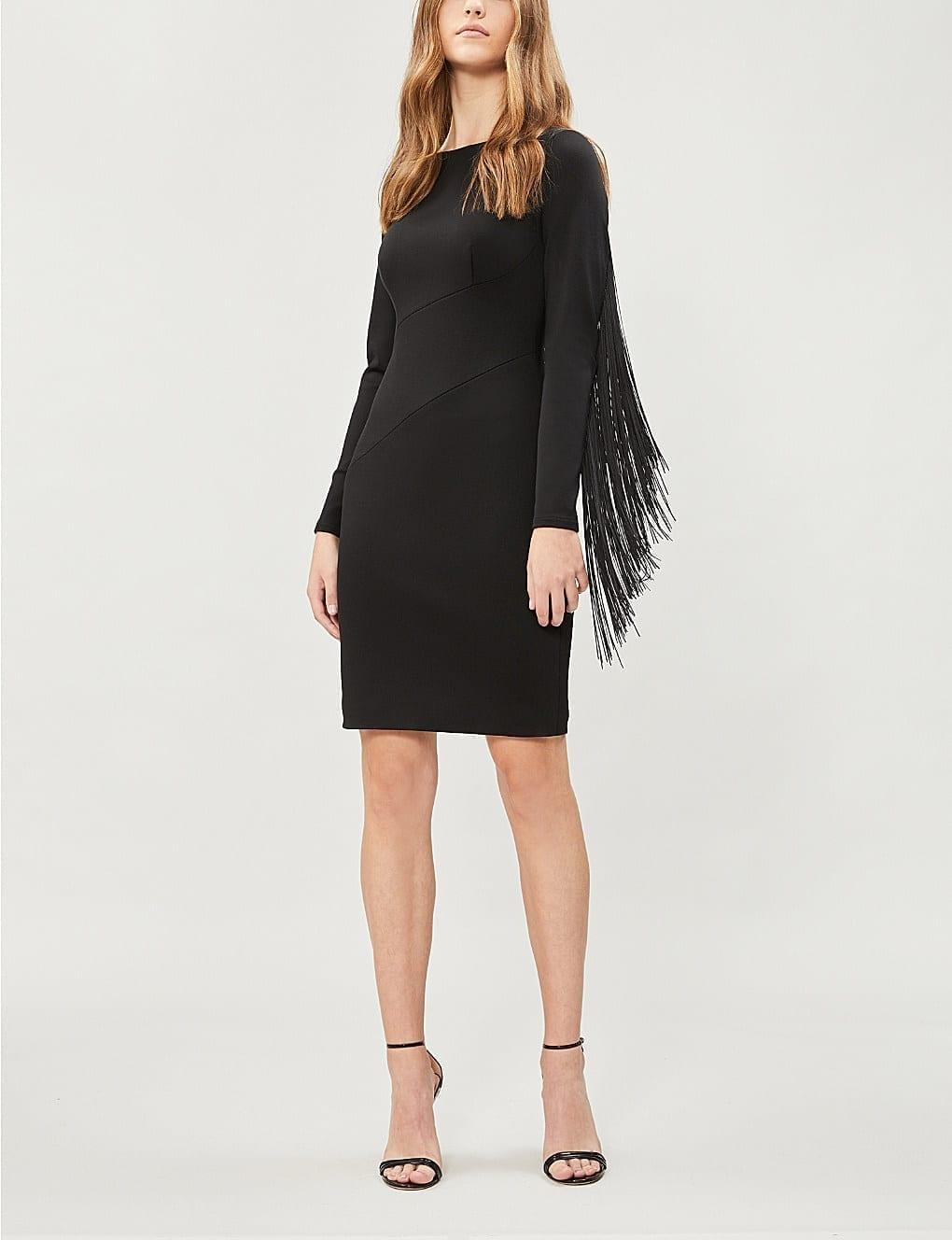 KAREN MILLEN Fantasy Fringe Trimmed Woven Black Dress