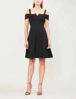 KAREN MILLEN Origami Detail Off The-shoulder Crepe Black Dress