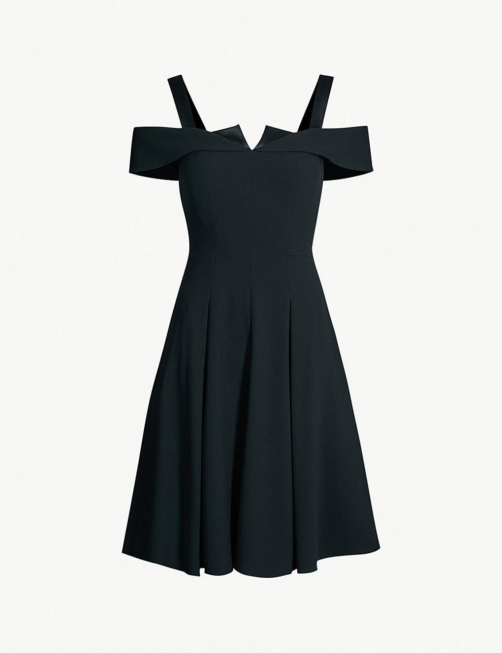 KAREN MILLEN Origami Detail Off The-shoulder Crepe Black Dress - We ...