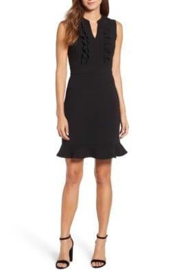 KARL LAGERFELD PARIS Ruffle Front Sleeveless Sheath Black Dress
