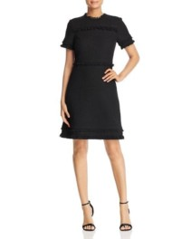KATE SPADE NEW YORK Fringed Tweed Black Dress
