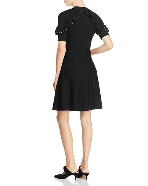 KATE SPADE NEW YORK Merino-Wool Studded-Ruffle Sweater Black Dress 2