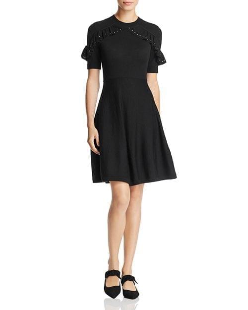 KATE SPADE NEW YORK Merino-Wool Studded-Ruffle Sweater Black Dress