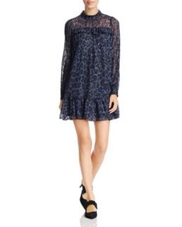 KATE SPADE NEW YORK Metallic Leopard-Print Blue Dress