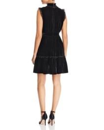 KATE SPADE NEW YORK Velvet Lace-Trim Black Dress 2