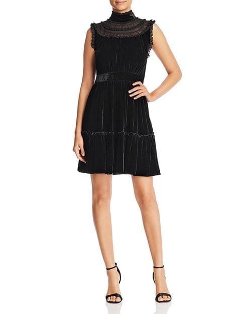 KATE SPADE NEW YORK Velvet Lace-Trim Black Dress