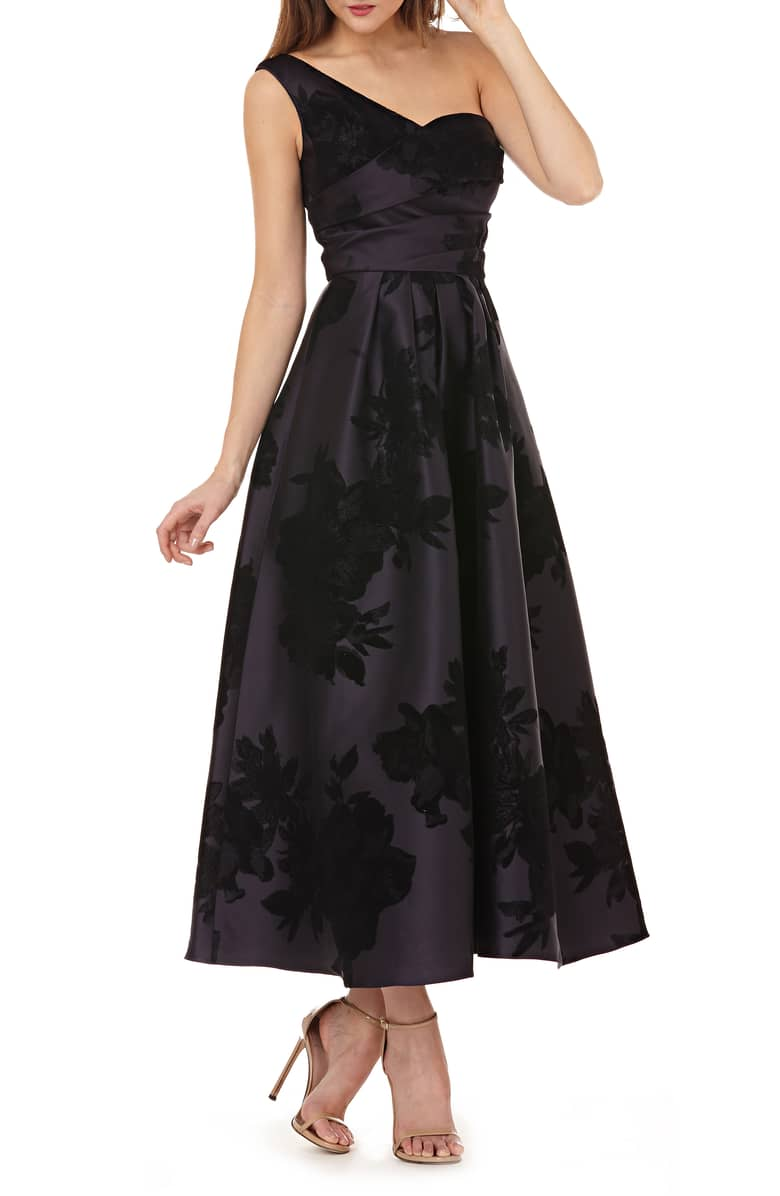 KAY UNGER Mikado One-Shoulder Black Gown