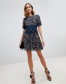 LACE & BEADS Scatter Embellished Mini Navy Dress