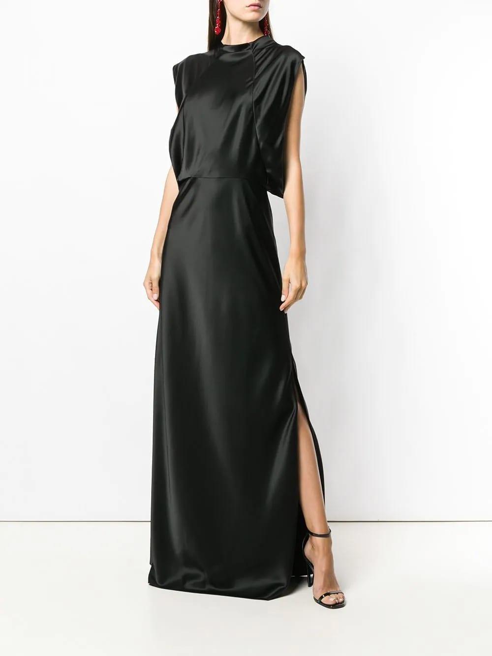 LANVIN-Side-Slit-Long-Black-Dress