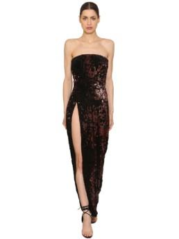 LAQUAN SMITH Strapless Sequined Velvet Long Bordeaux Dress