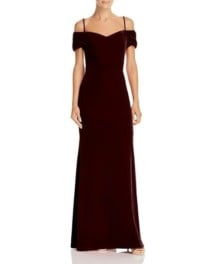 LAUNDRY BY SHELLI SEGAL Off-the-Shoulder Velvet Red Gown