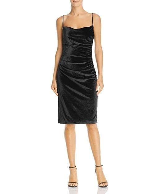 LAUNDRY BY SHELLI SEGAL Ruched Velvet Black Dress