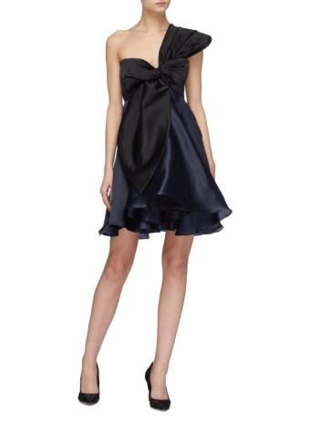 LEAL DACCARETT 'Lirio' Colourblock Bow Silk Satin One-Shoulder Black Dress
