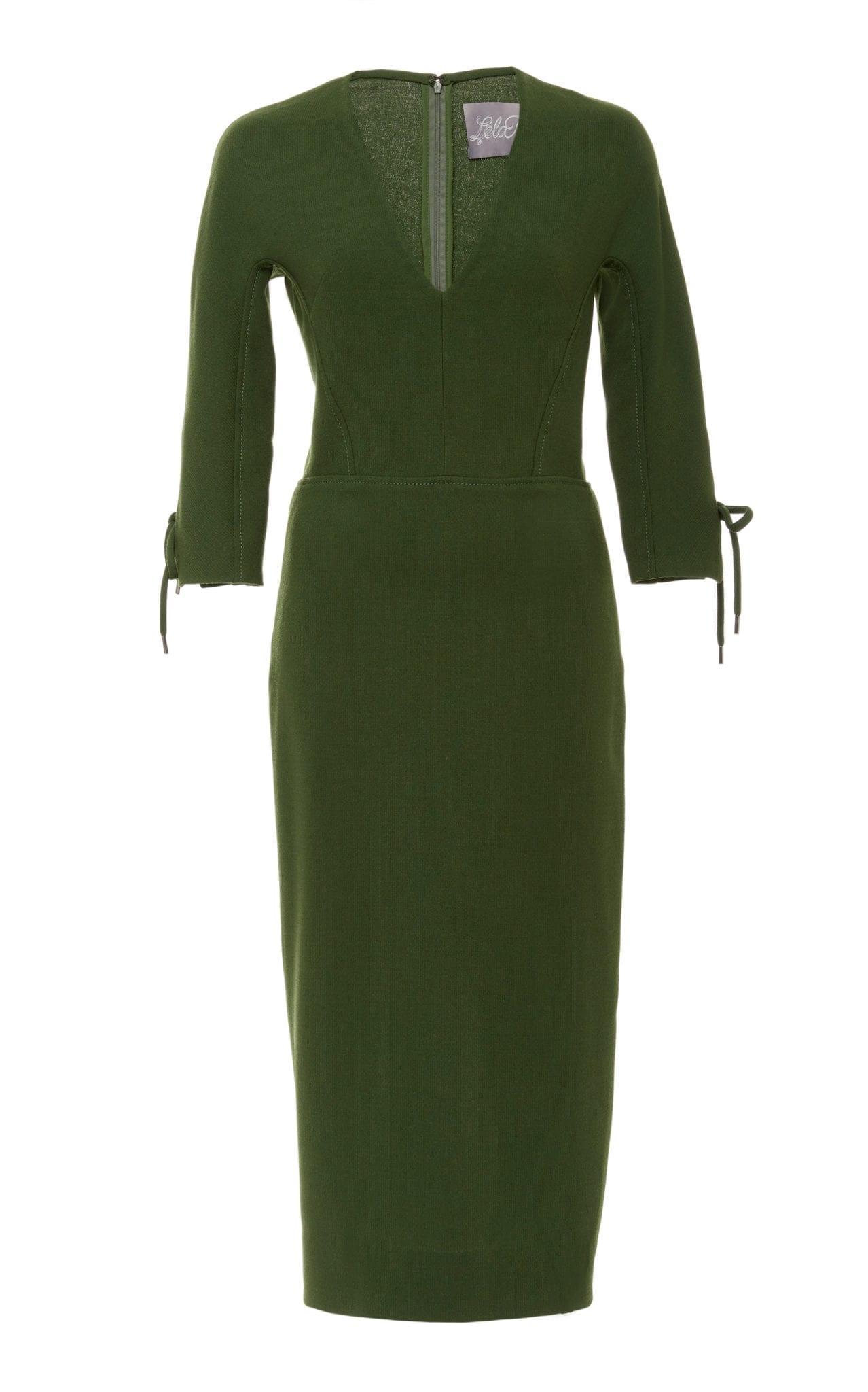 LELA ROSE Bow-Detailed Wool-Blend Cady Midi Green Dress