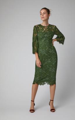 LELA ROSE Corded-Lace Midi Green Dress