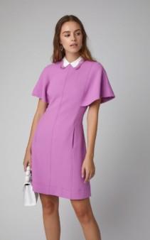 LELA ROSE Lace-Trimmed Wool-Blend Cady Mini Pink Dress
