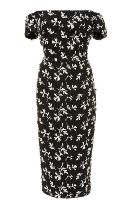 LELA ROSE Off-The-Shoulder Floral-Embroidered Crepe Black / White Dress