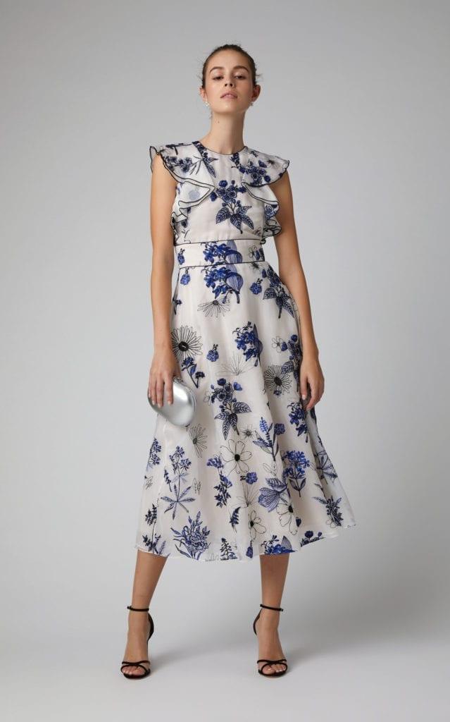 Lela Rose Ruffled Floral Print Silk Chiffon Midi Multi