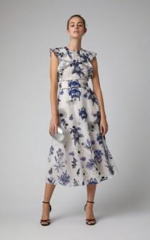LELA ROSE Ruffled Floral-Print Silk-Chiffon Midi Multi Dress