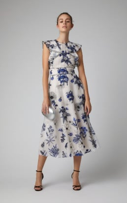 LELA ROSE Ruffled Floral-Print Silk-Chiffon Midi Multi Dress