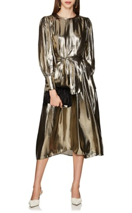 LES COYOTES DE PARIS Drake Silk-Blend Lamé Belted Gold Dress