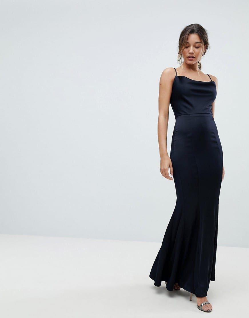 af11f74980f LIPSY Cowl Neck Maxi Flared Hem Navy Dress - We Select Dresses
