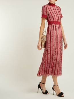 LUISA BECCARIA Lace Cotton-blend Pink Dress