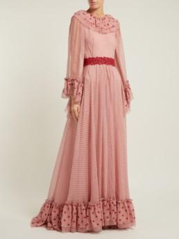 LUISA BECCARIA Polka Dot Print Silk Chiffon Pink Gown