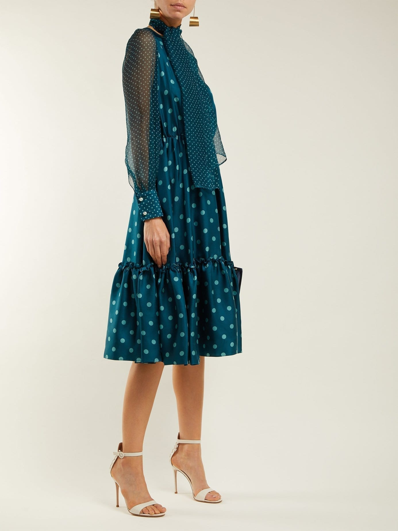LUISA BECCARIA Polka Dot Silk Midi Teal Blue Dress