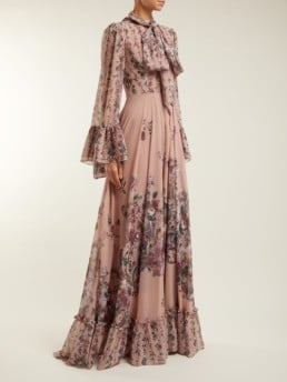 LUISA BECCARIA Pussy Bow Georgette Pink / Floral Printed Gown