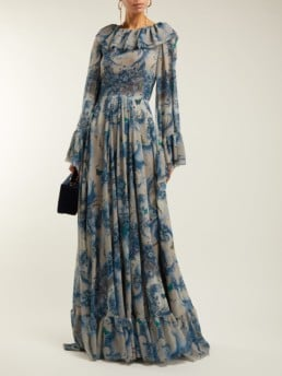 LUISA BECCARIA Ruffled Georgette Blue / Floral Printed Gown