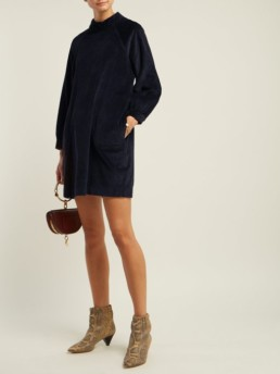 M.I.H JEANS Inigo Cotton-Blend Corduroy Mini Navy Dress