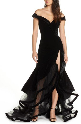 MAC DUGGAL Off the Shoulder Tiered Black Ballgown