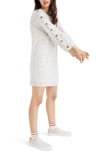 MADEWELL Button-Sleeve Sweater Donegal Snow Dress 3