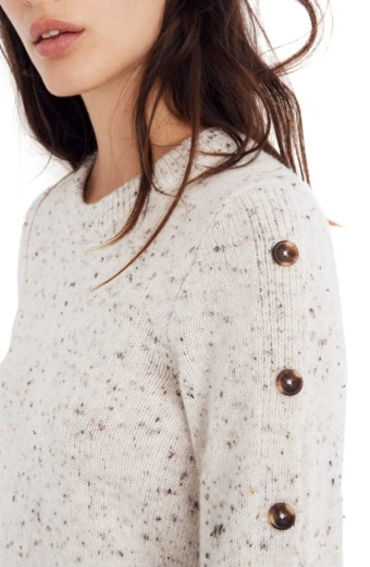 MADEWELL Button-Sleeve Sweater Donegal Snow Dress 4