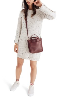 MADEWELL Button-Sleeve Sweater Donegal Snow Dress