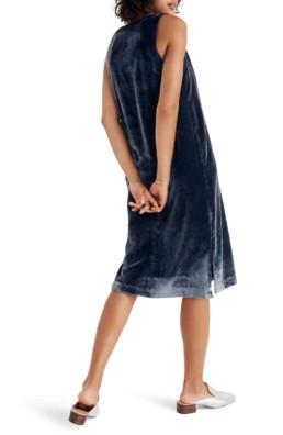 MADEWELL Velvet Button Front Midi Blue Dress 2