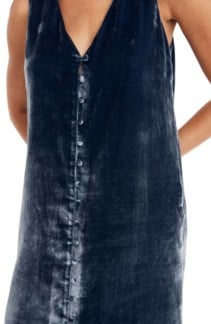MADEWELL Velvet Button Front Midi Blue Dress 4