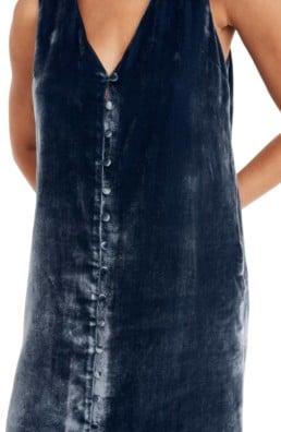 MADEWELL Velvet Button Front Midi Blue Dress 4